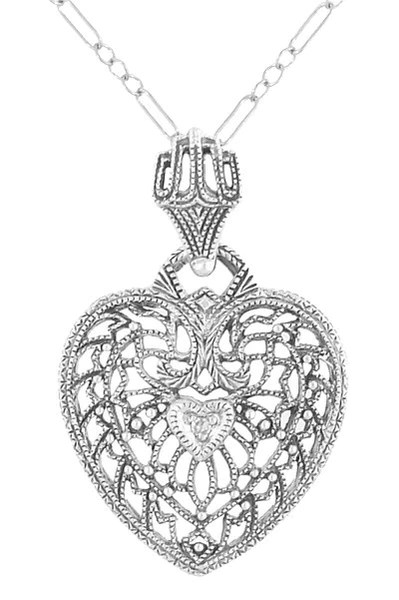 Art Deco Diamond Sterling Silver Filigree Heart Necklace