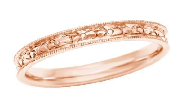 Edwardian Heirloom Engraved Floral Womens Wedding Band In