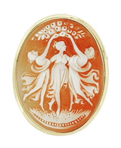 Three Graces Carnelian Hand Carved Shell Cameo Pin And