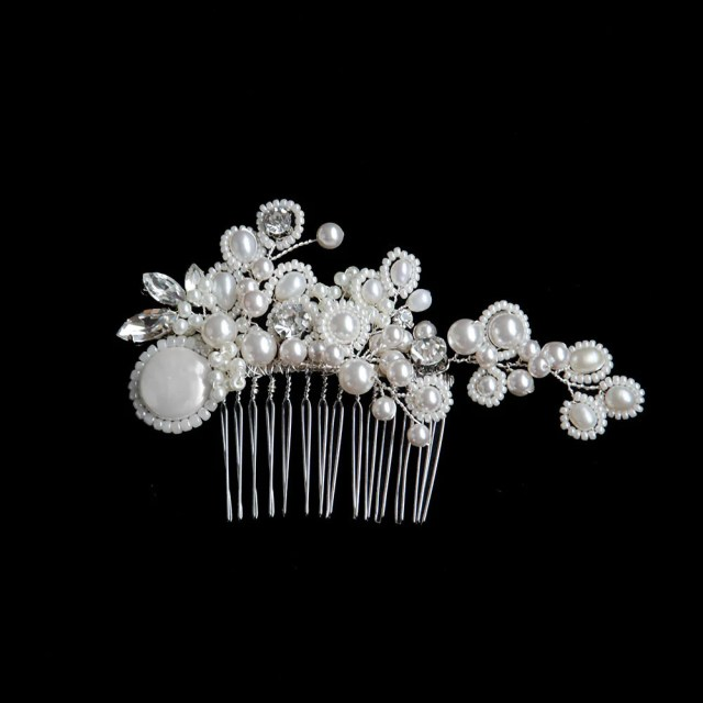 pearl jungle - pearls cluster with coin pearl bridal headpiece, handmade hair comb