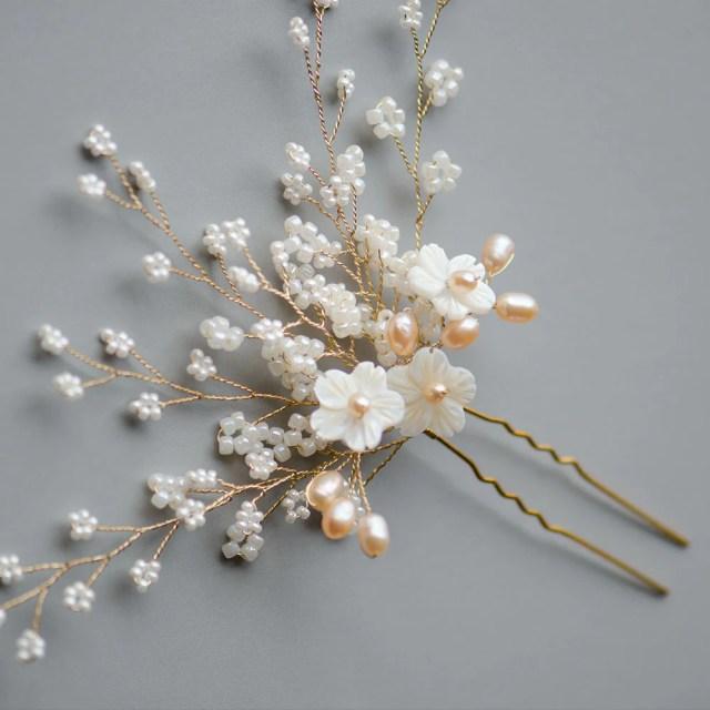 seashell sakura bridal hair pin in blush tones, handmade bridal headpiece
