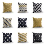Navy And Mustard Indoor Outdoor Throw Pillows Tribal Living Room Mckinlay Design