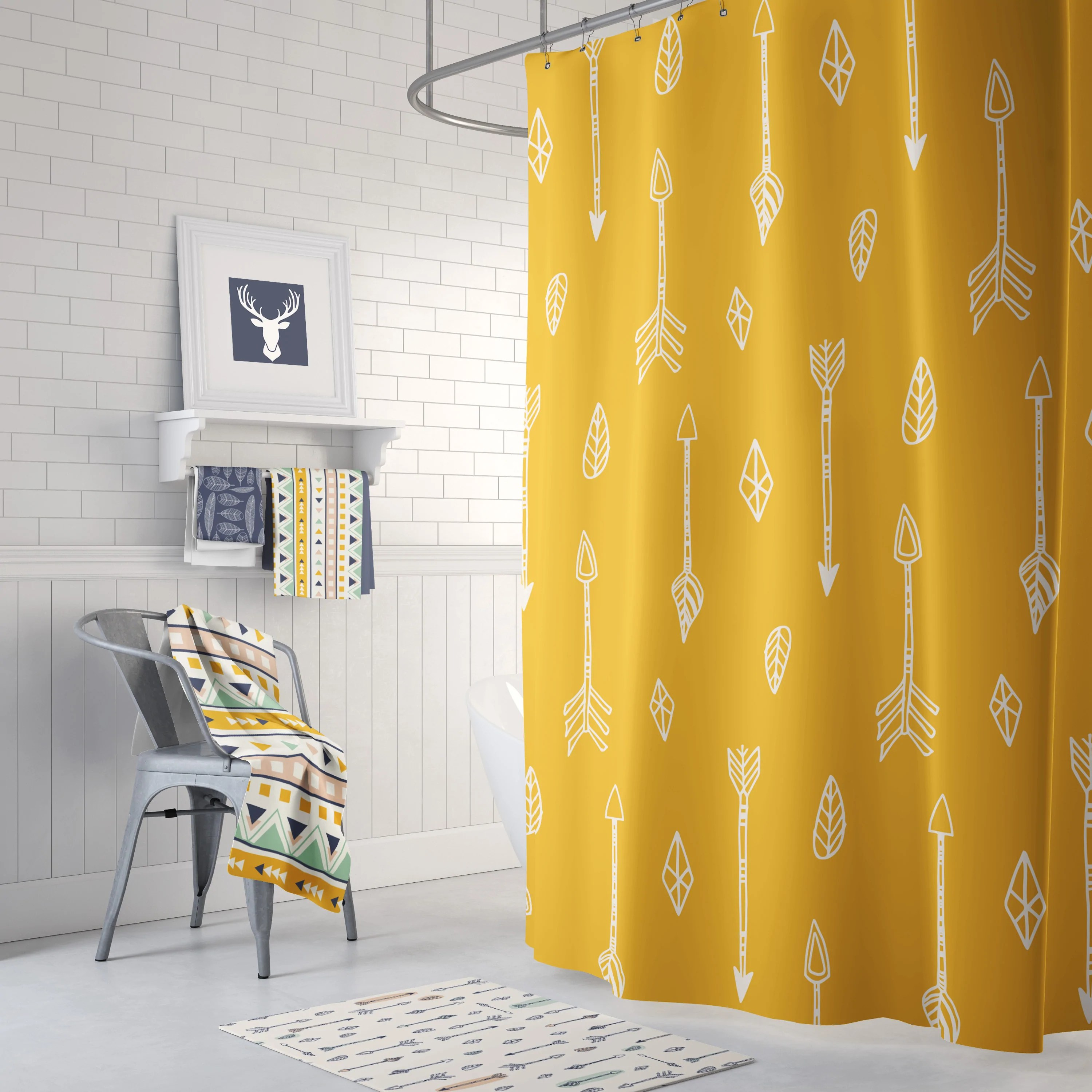 navy and yellow shower curtain