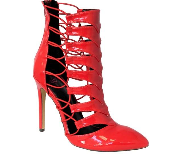 Zendia Sexy City Patent Booties Red