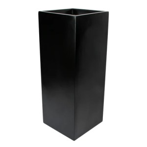 Root and Stock Belvedere Tall Square Cube Planter Box   Black Root and Stock Belvedere Tall Square Cube Planter Box Black Angle
