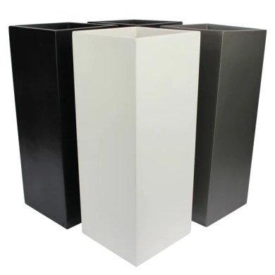 Root and Stock Belvedere Tall Square Cube Planter Box   Black