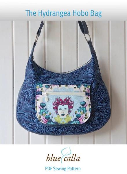 The Hydrangea Hobo Bag Pdf Sewing Pattern Blue Calla