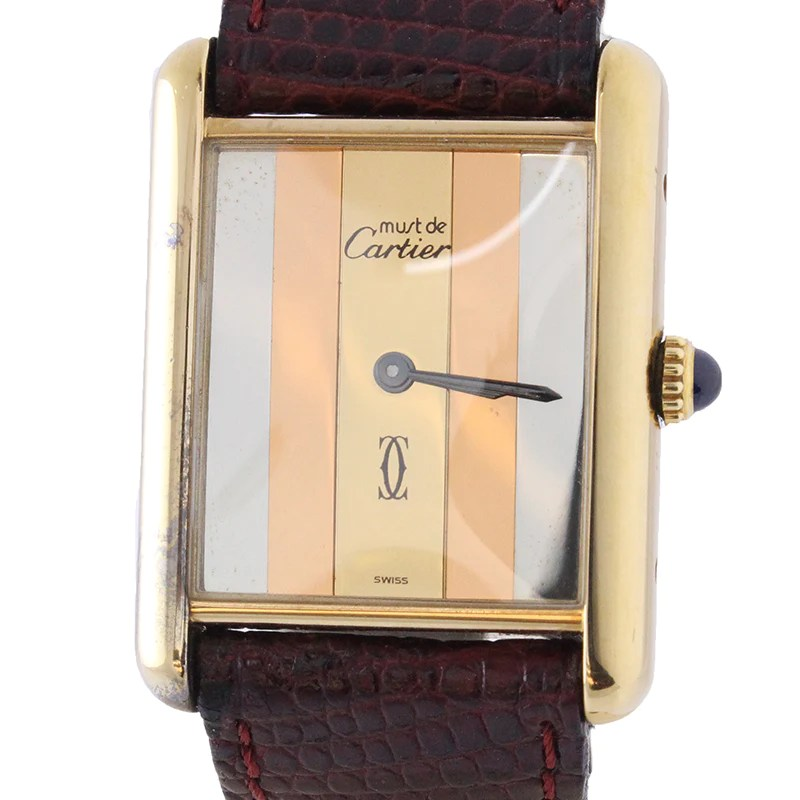 Must De Cartier Tank Watch Vintage Tri Color Watch Leather Watch   OGJ The Must De Cartier Tank Watch