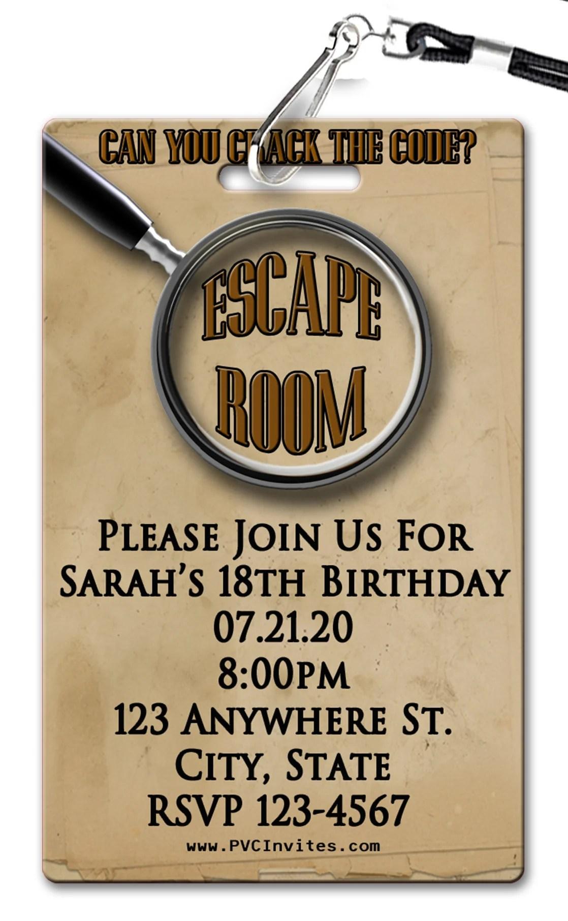 escape room invitation