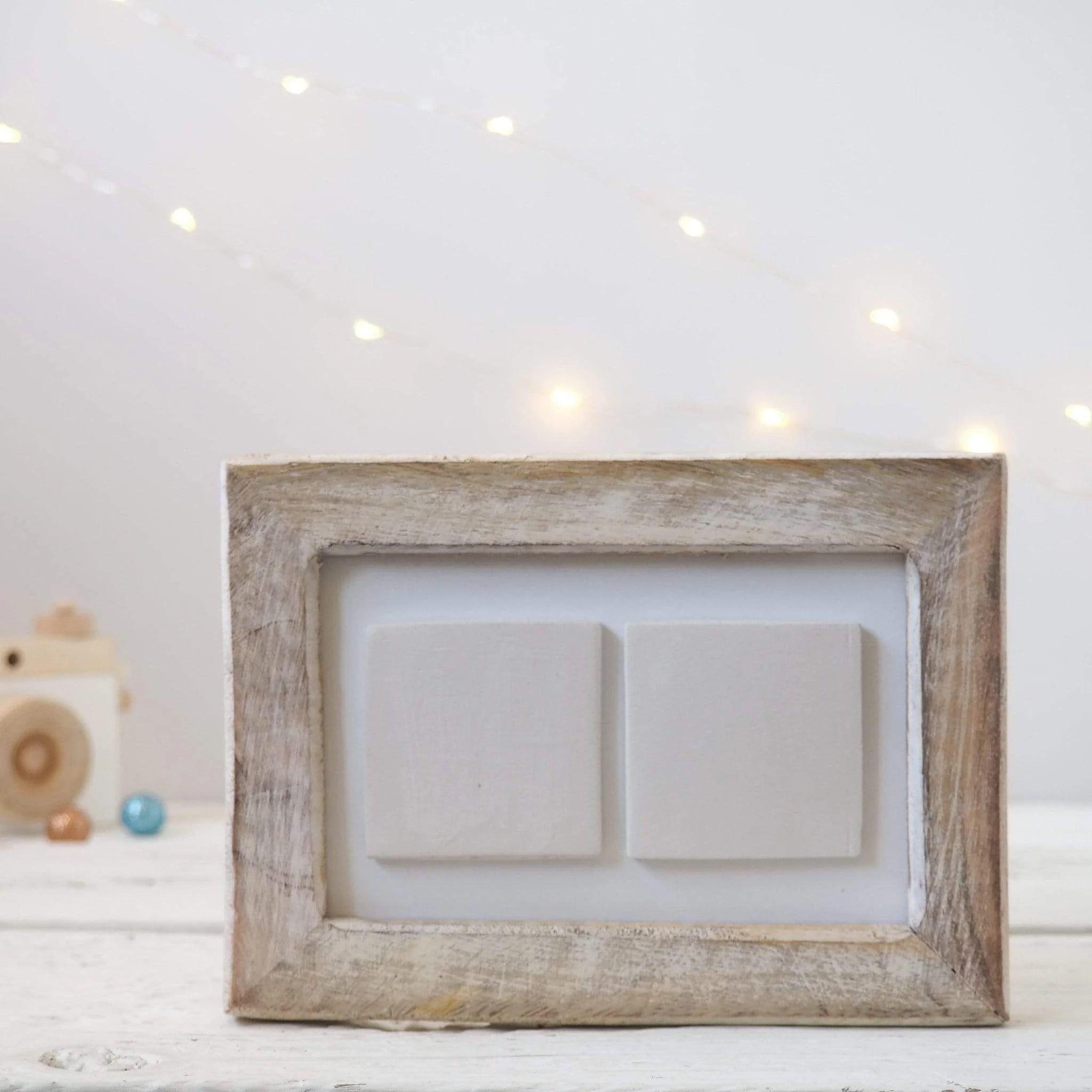 two ceramic tile photo frame white washed wood