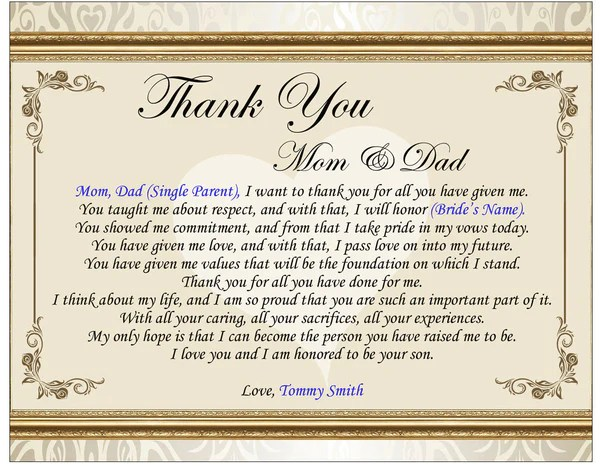 Thank You Wedding Poetry Gift Picture Frame Groom Bride