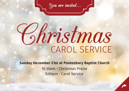 Christmas Carol Service Invitation Cards A6 TruthVine