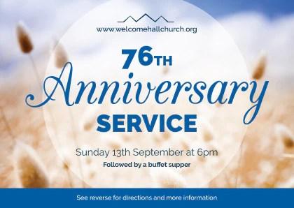 Church Anniversary Service Invitation Cards A6 TruthVine