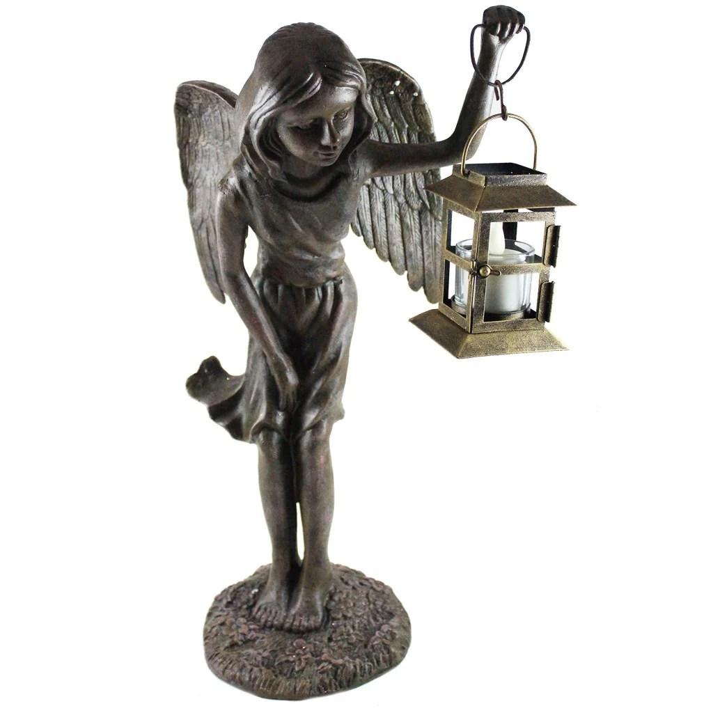 Fairy Statue Holding Tea Light Candle Lantern Metal