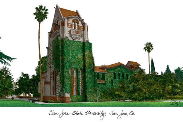 San Jose State University Campus Images Lithograph Print