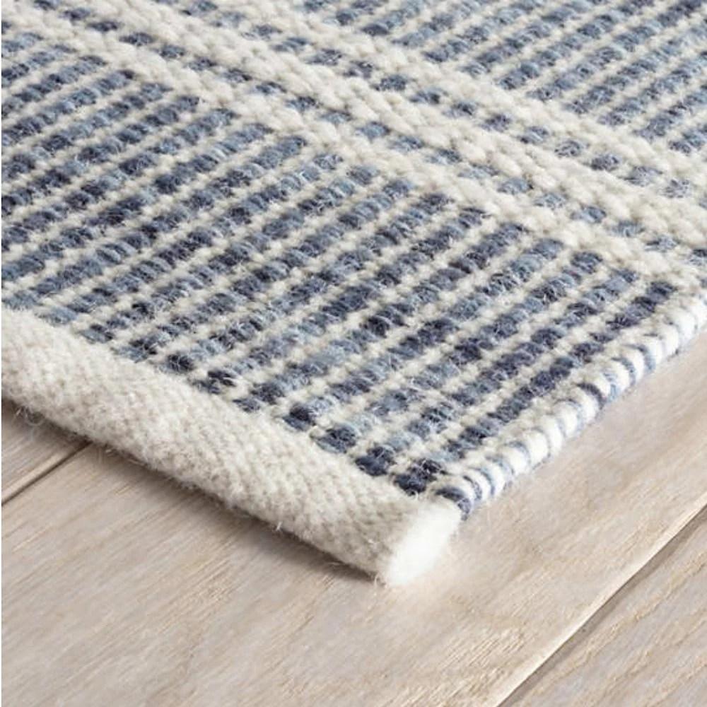 Malta Blue Woven Wool Rug Dash Albert Tonic Living
