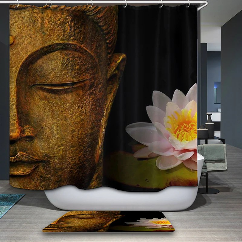 buddha shower curtains waterproof polyester fabric bathroom curtain