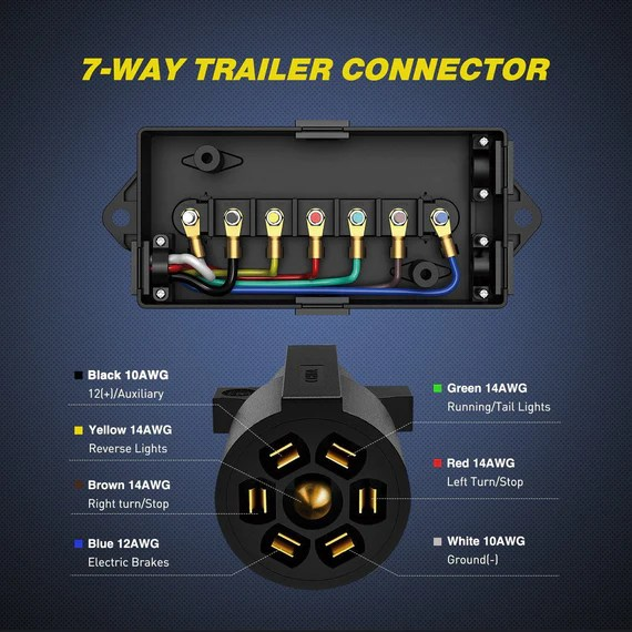 nilight 50024r heavy duty 7 way plug inline trailer cord with 7 gang  junction box8 feet weatherproof2 years warranty