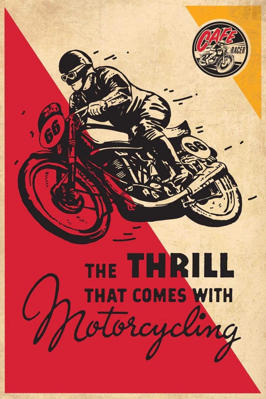 vintage poster thrill of motorcycling framed prints