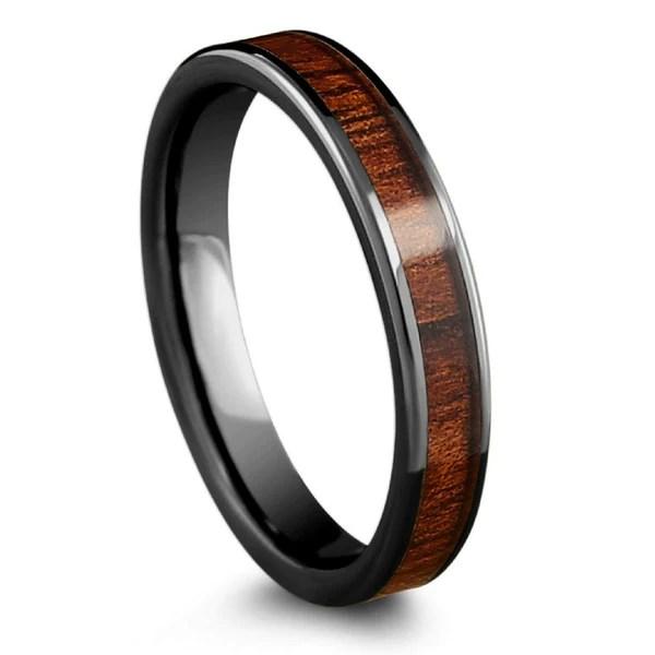 4mm High Tech Ceramic Koa Ring With Flat Design