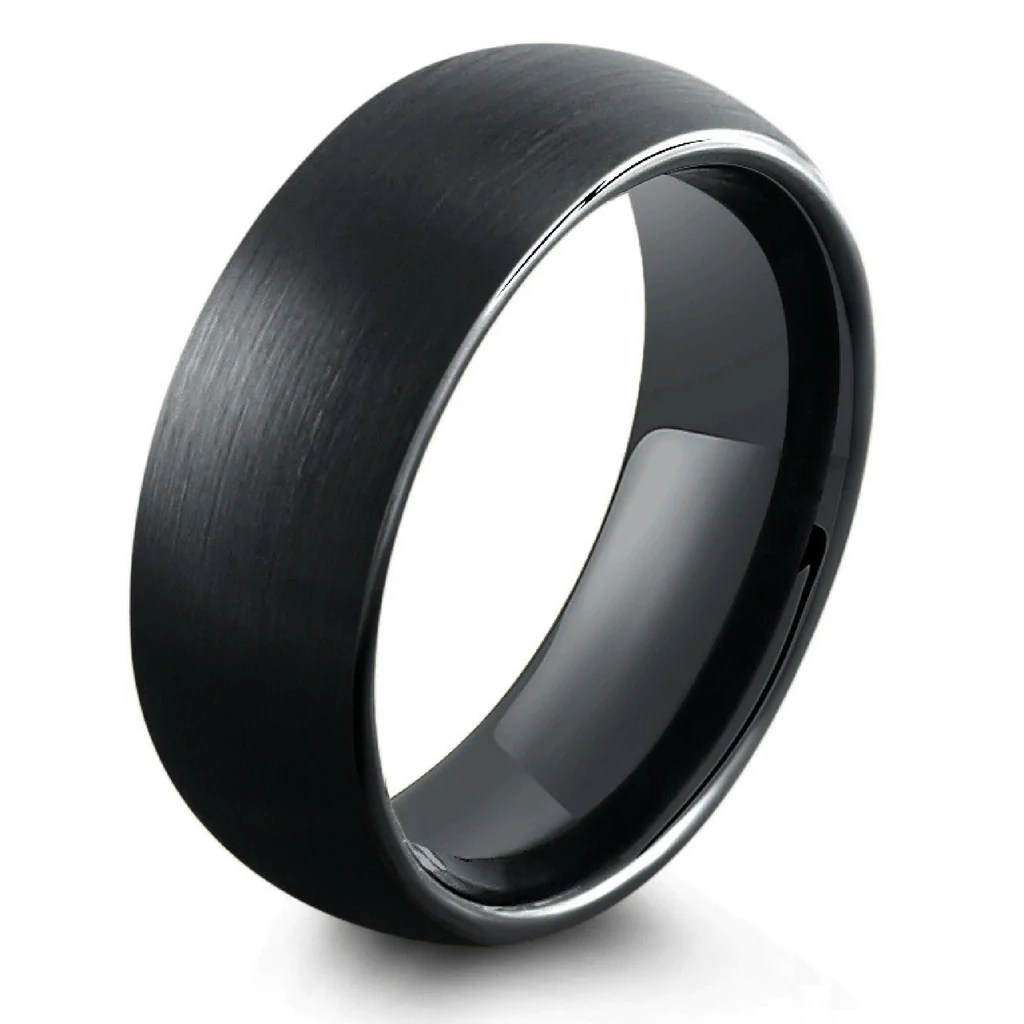 8mm All Black Brushed Tungsten Wedding Band NorthernRoyal