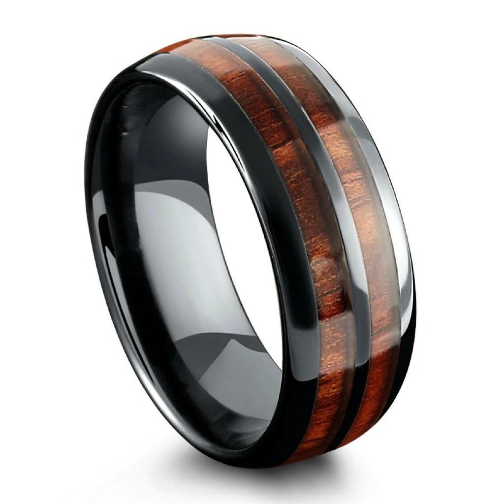 the barrel ceramic koa wood wedding ring mens wood wedding ring