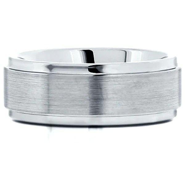 8mm Mens Silver Brushed Tungsten Wedding Band With Step