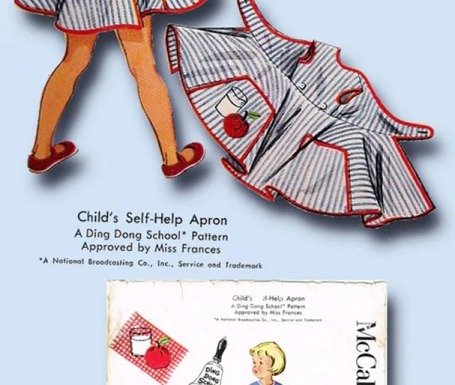 1950s Vintage Mccalls Sewing Pattern 1921 Toddler Girls Ding Dong Play Apron Sz6