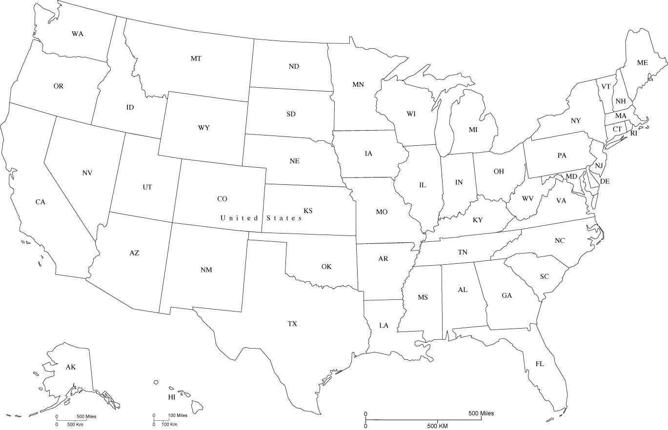 Usa Map With State Abbreviations In Adobe Illustrator And Powerpoint