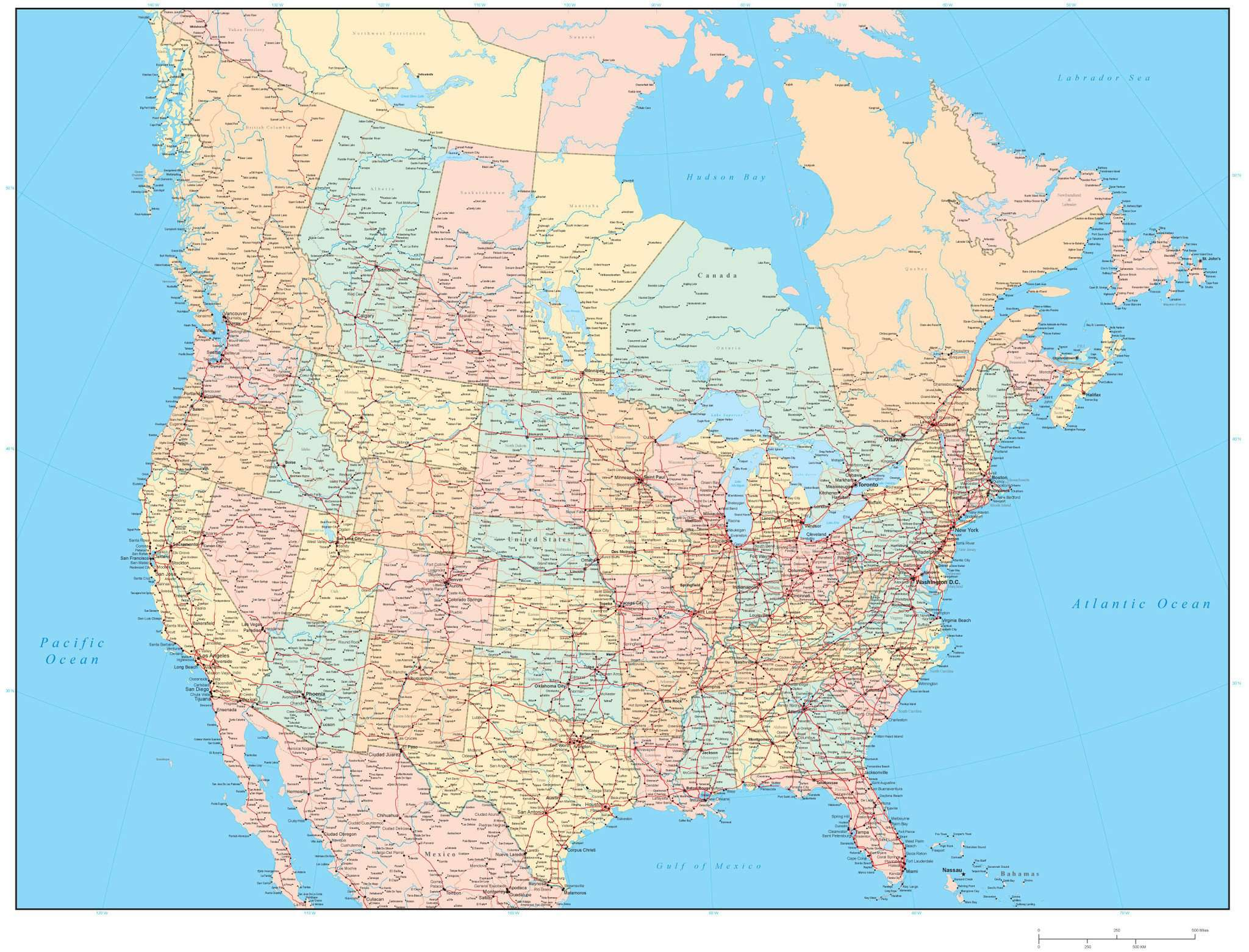 Detailed United States And Canada Map In Adobe Illustrator Format