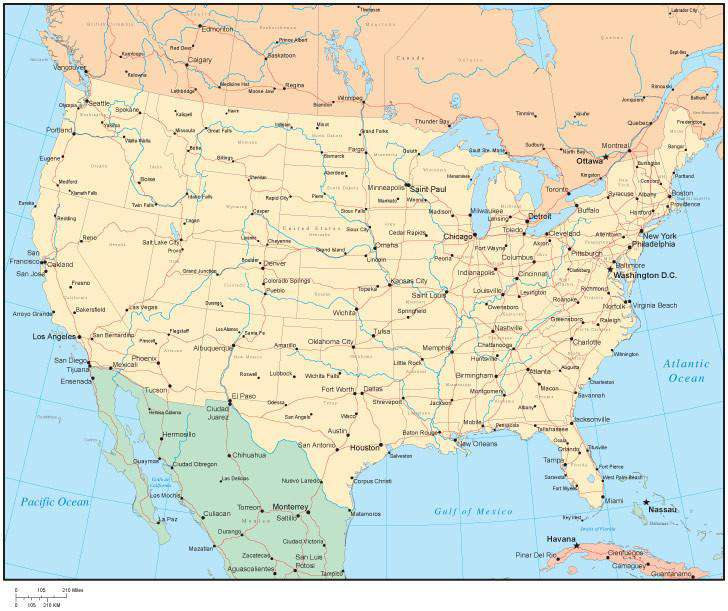 To pan the map click on the respective arrow on the pan button or click on the map and move your mouse/pointer to drag the map around (pan). Multi Color United States Map With States Canadian Provinces