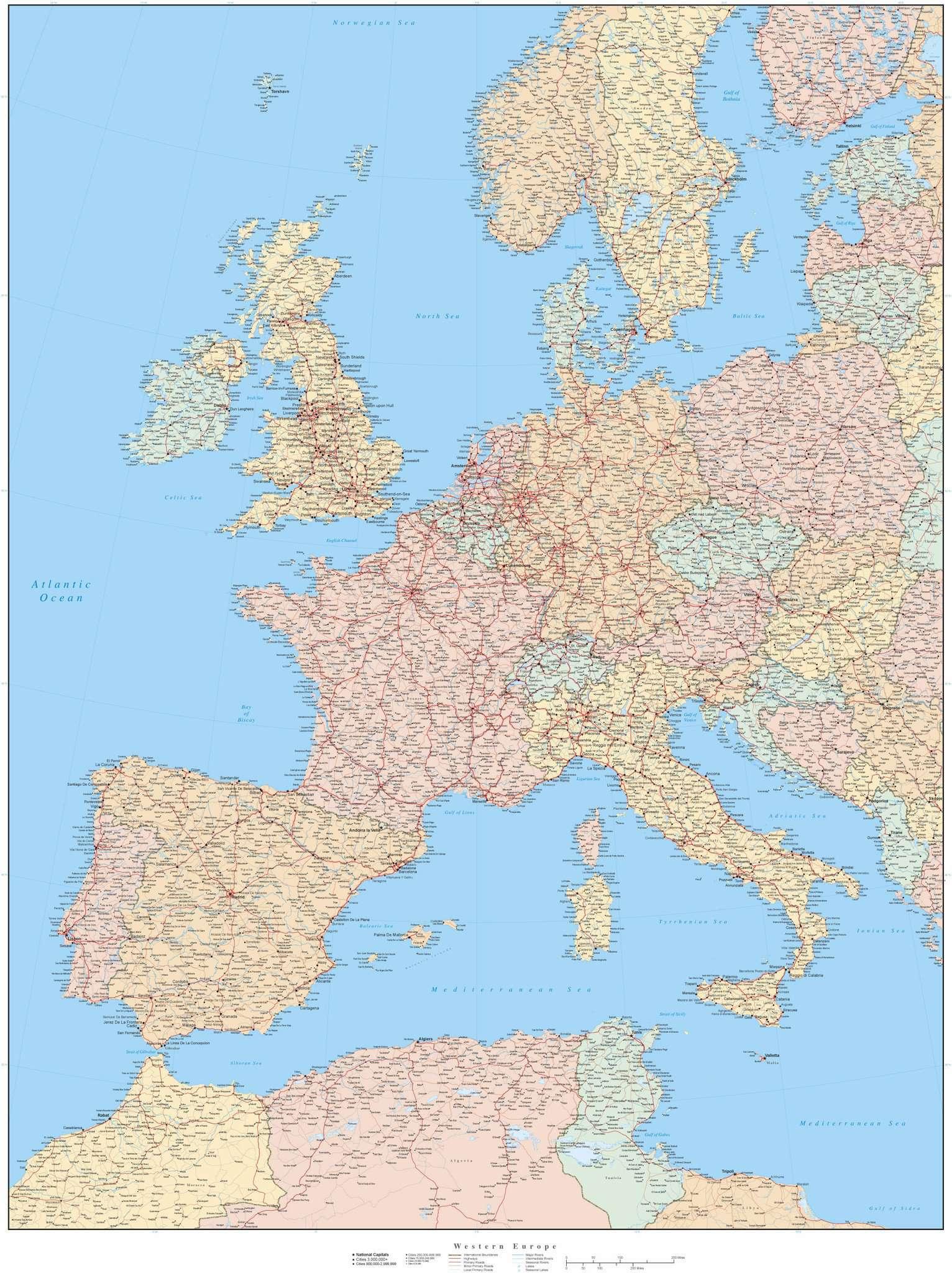 Western Europe Map In Adobe Illustrator Vector Format