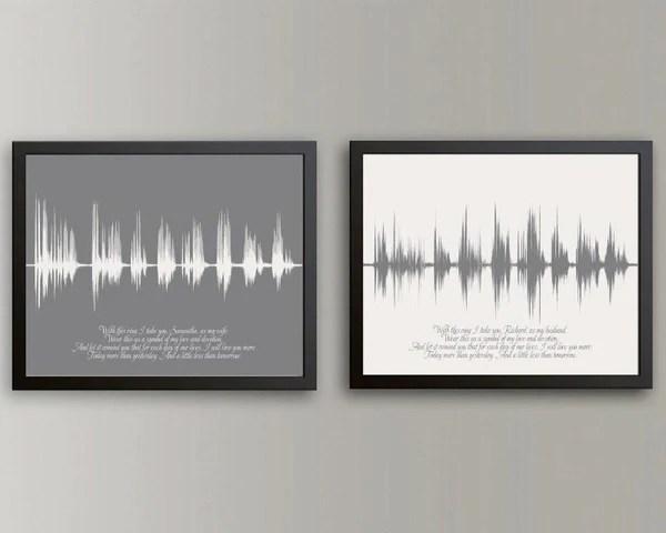 Wedding Vow Sound Wave Art Keepsake 1st Paper Anniversary