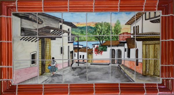 tile mural little town clay talavera tile mural