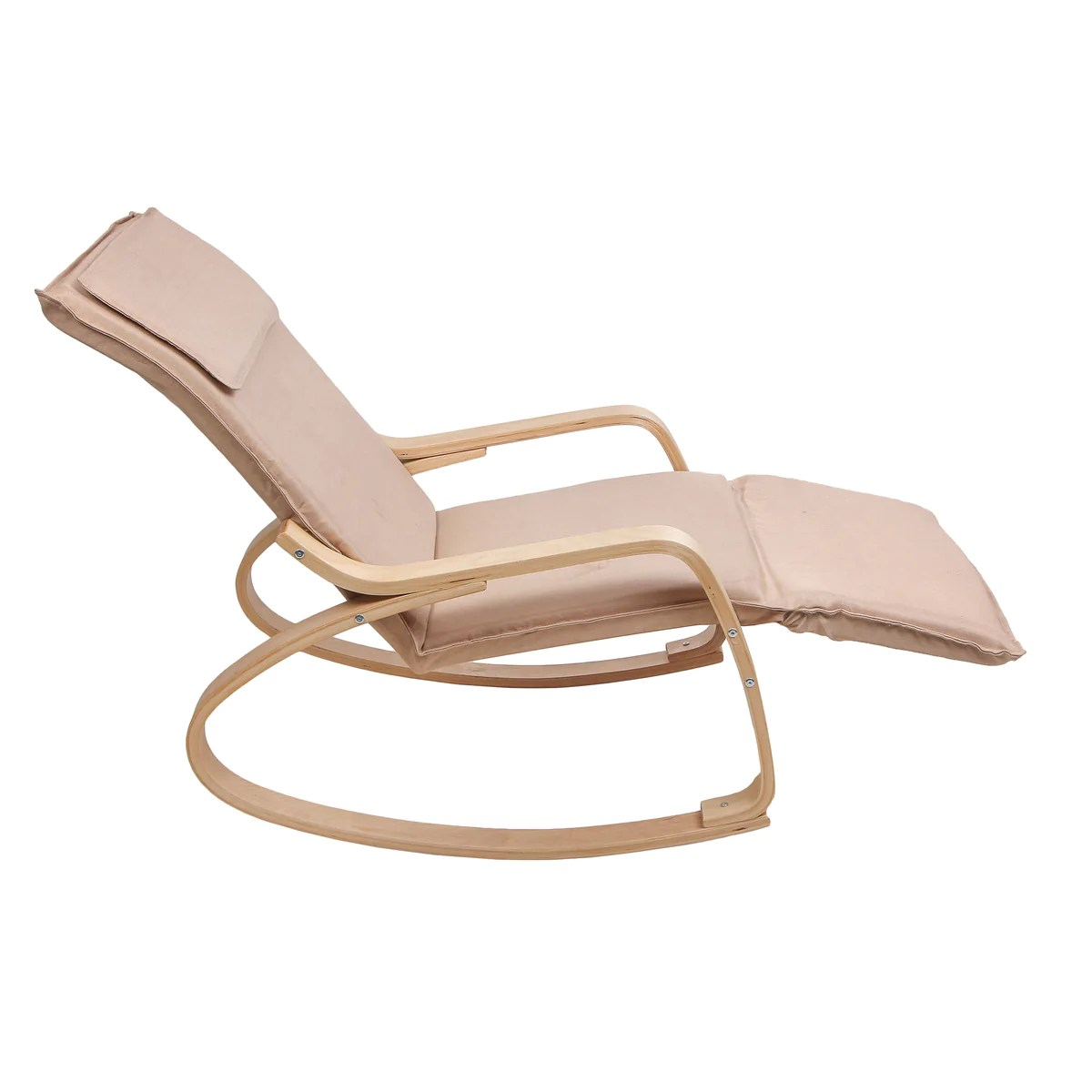 Uberlyfe Relax Rocking Chair With Foot Rest Design With Cushion Cream Colour