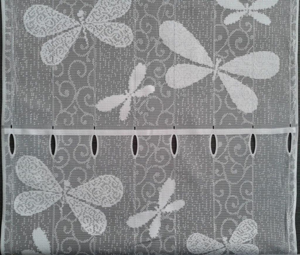 rideau brise bise blanc 45 cm de largeur motif libellie modulable en hauteur