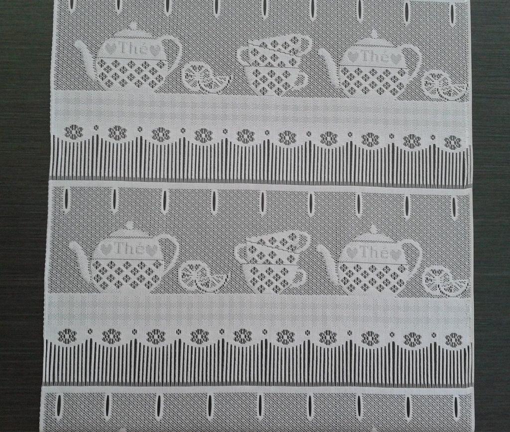 rideau brise bise blanc 45 cm de largeur motif tea time modulable en hauteur