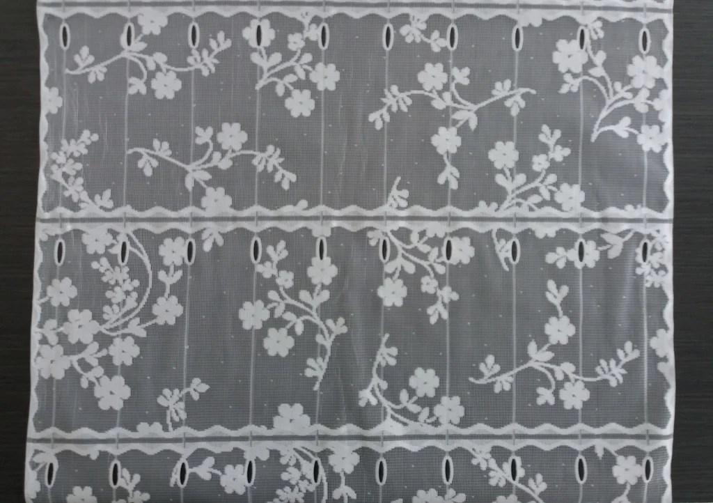 rideau brise vue blanc 60 cm de largeur motif fleuri 2 modulable en hauteur