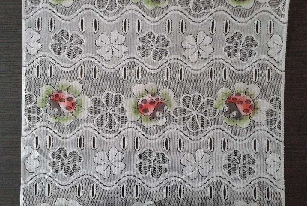 rideau brise vue colore 60 cm de largeur motif coccinelles modulable en hauteur