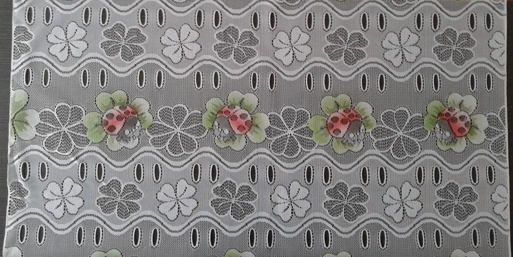 rideau voilage colore 90 cm de largeur motif coccinelles modulable en hauteur