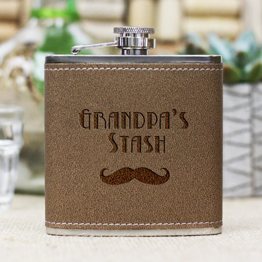 Personalized Flask Grandpas Stash Stamp Out