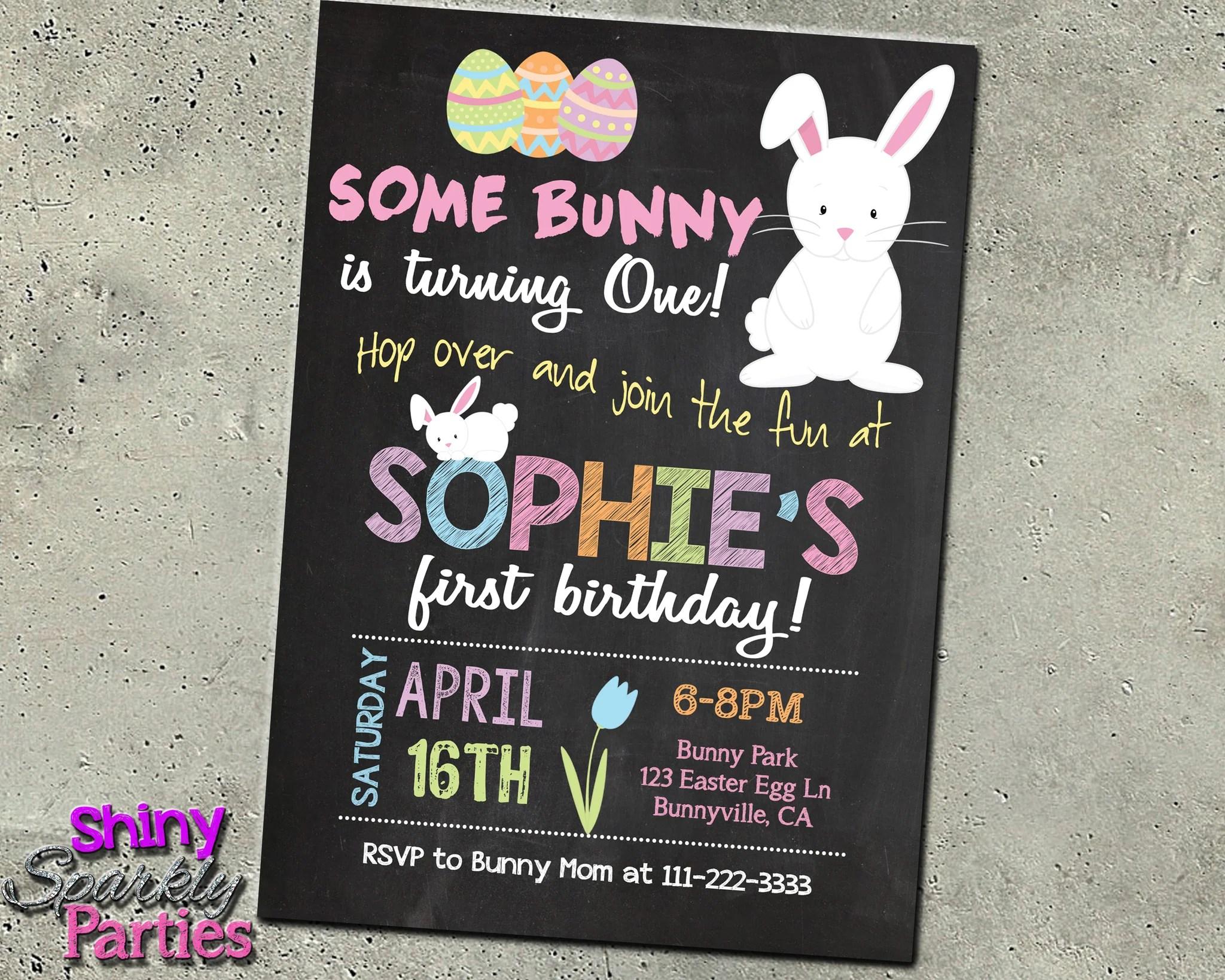 easter bunny birthday invitation