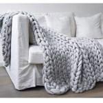 Grey Chunky Knit Blanket Kempton Co