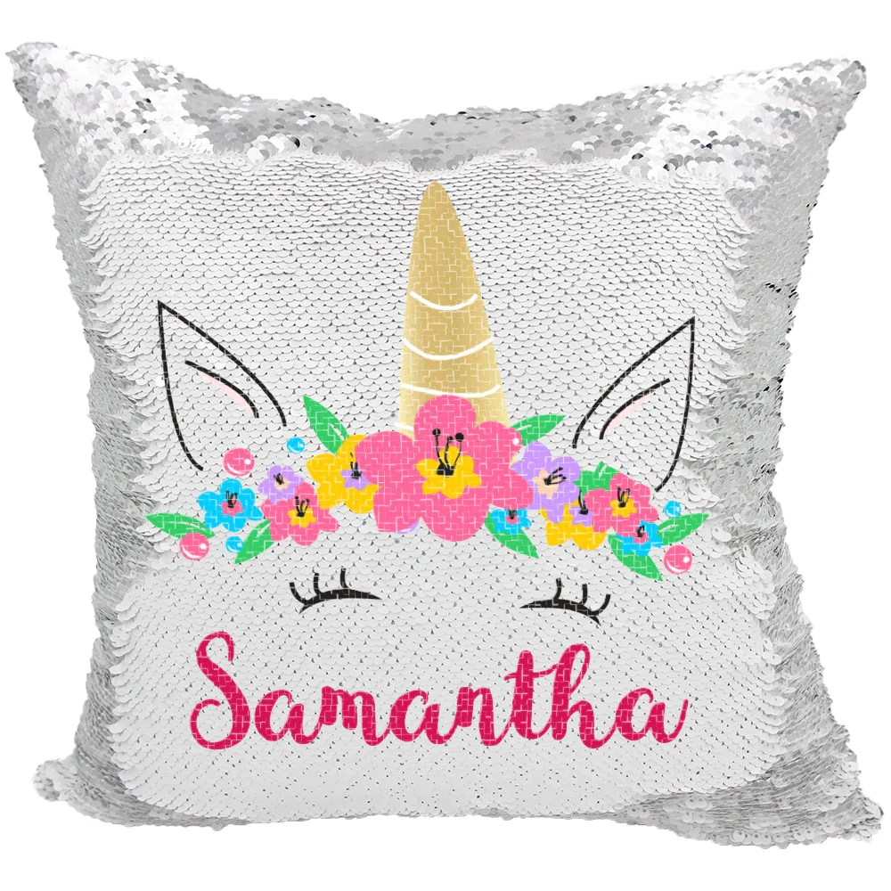 handmade personalized unicorn sequin pillow case