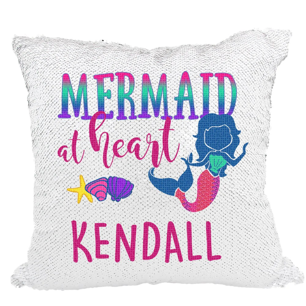 handmade personalized mermaid at heart reversible sequin pillow case