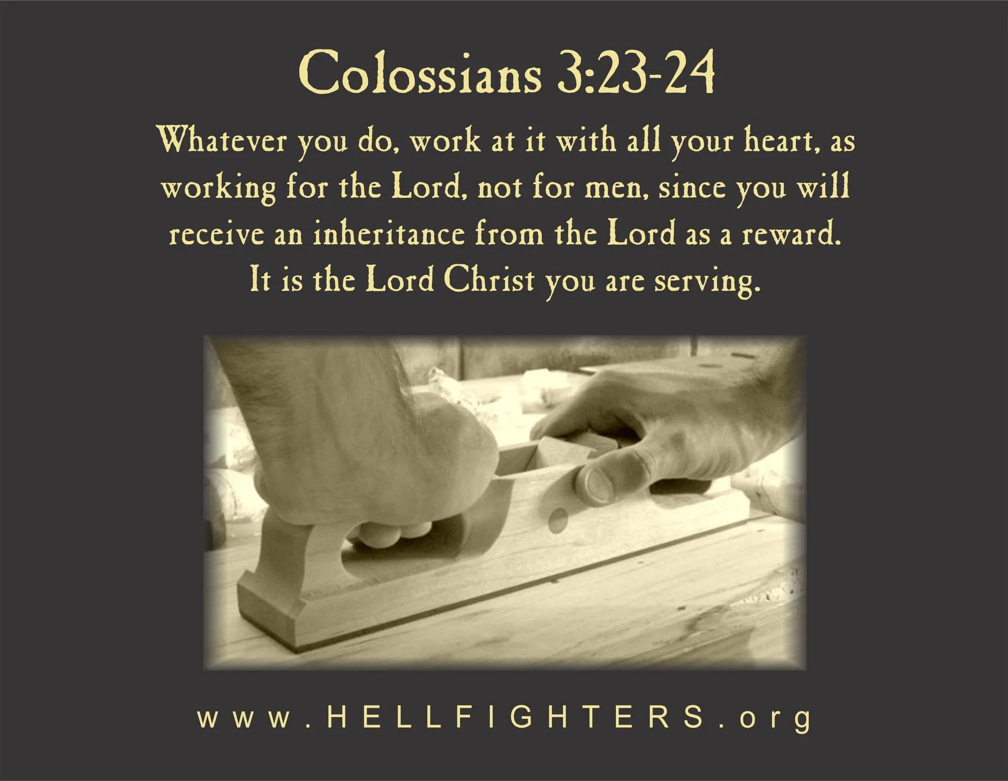 Poem Pledge Colossians 3 23 24 Hellfighters