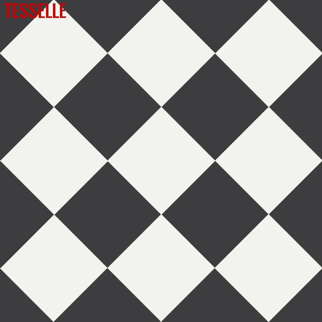 checkerboard pattern made with 8 x8 onyx and cotton cement tiles