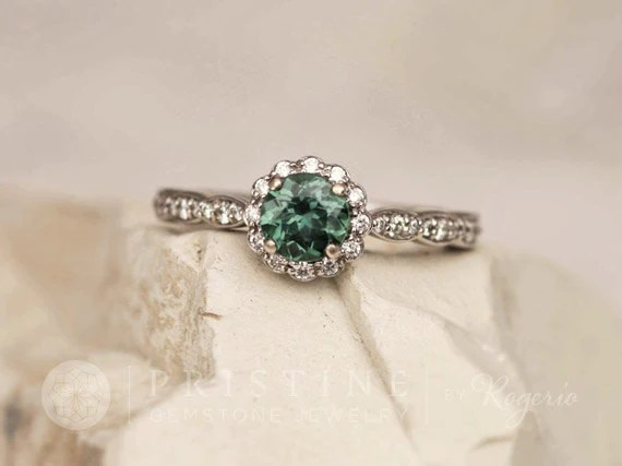 Blue Green Sapphire Engagement Ring Vintage Inspired Ring