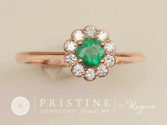 Emerald Vintage Style Engagement Ring Rose Gold Diamond