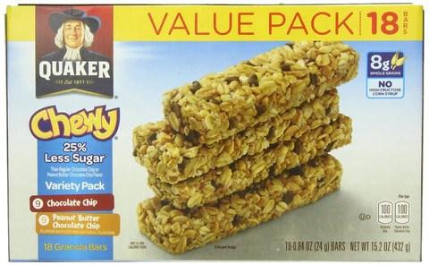 Quaker Chewy Granola Bars 25 Less Sugar Variety Pack